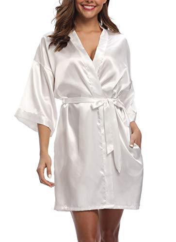 Old-Times Women's Pure Color Silk Kimono Short Robes for Bridesmaids and Bride White S/M