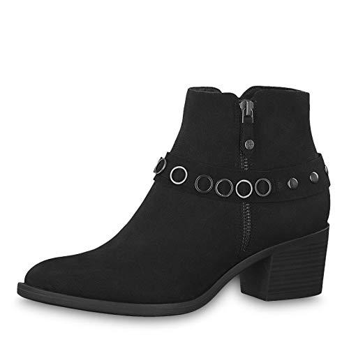 Tamaris Damen Stiefeletten 25358-23, Frauen Stiefelette, Stiefel Boot halbstiefel Damenstiefelette Bootie reißverschluss Damen,Black,36 EU / 3.5 UK