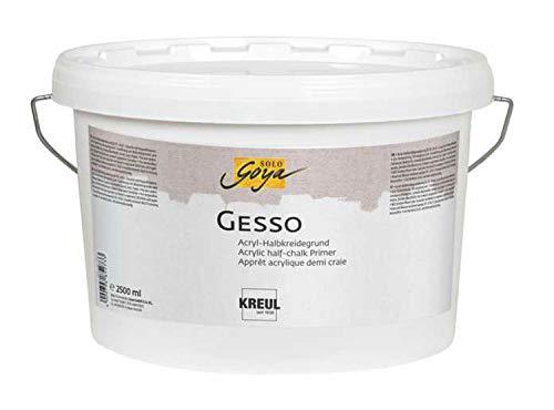Kreul 85273 - Solo Goya Gesso wit, 2500 ml emmer, grondlaag van schilderondergronden op acryl-halve krijtbasis, waterdicht en goed dekkend