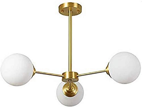 KANGSHENG Sputnik Chandelier Modern 6 Light Cepillado Sujetador Candelabro Iluminación Colgante de Mediados de Siglo Luminaria de Techo Dorada para Pasillo Bar Cocina Comedor-Bronce 3 Luces