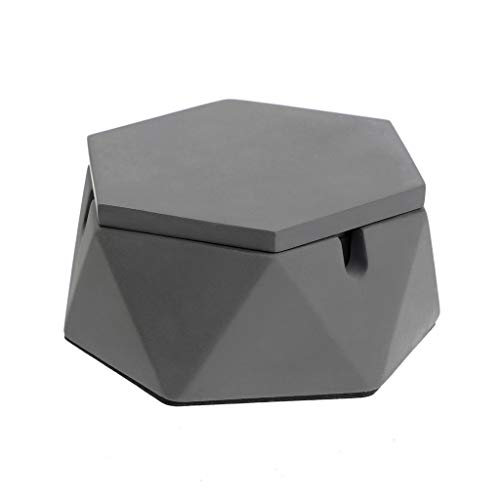 Hipiwe Concrete Ashtray with Lid and Stainless Steel Liner - Geometric Cement Cigarette Ashtray Holder for Indoor or Outdoor Use, Windproof Tobacco Ash Tray for Patio/Office/Home Decor