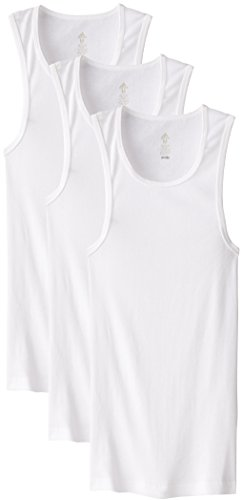 adidas Men's Athletic Comfort Ribbed Tank Undershirt (3-Pack), White White White, SMALL