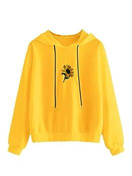 SweatyRocks Women s Floral Print Long Sleeve Hoodie Casual Drawing Pullover Sweatshirt Yellow L