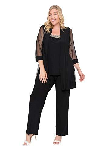 R&M Richards Long Formal Formal Pant Suit Plus Size Dress Black 14W