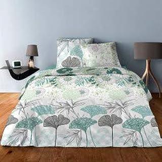 LINGE USINE Parure de draps pour lit de 160 x 200 cm 4 Pieces Green Flower Coton 57 Fils supérieur