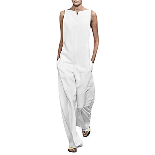 Zlolia Women's Solid Color Sleeveless Jumpsuits Summer Long Wide Leg Cotton Casual Jumpsuit Rompers with Pocket