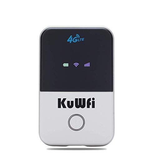 KuWFi 4G LTE Mobile WiFi Hotspot Unlocked Travel Partner Wireless 4G Router with SIM Card Slot Support B1/B3/B5/B7/B8/B20 in Europe Caribbean South America Africa
