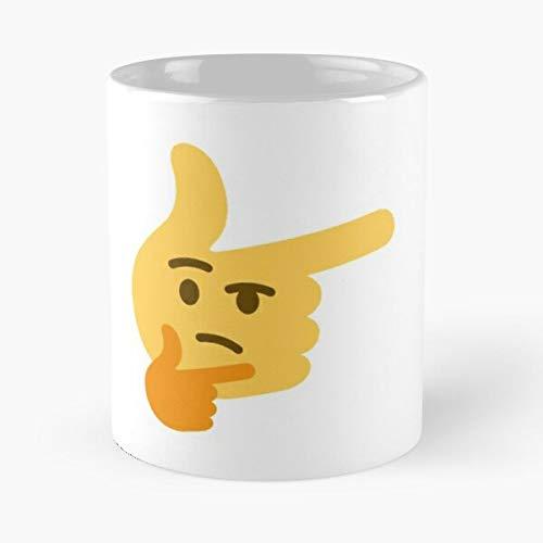 Thinking Finger Emoji - Taza con diseño de emoticono de mármol blanco y estampado de cerámica