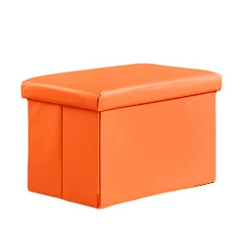 Ottoman Wddwarmhome Boîte de Rangement Pliable de Tabouret de Stockage de ménage de Tabouret de PVC - Poids Maximum 100kg -48 * 31 * 31cm (Couleur : Orange)