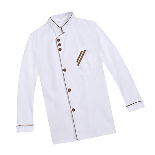 F Fityle Weiß Langarm Kochjacke Bäckerjacke mit Knöpfe Gastronomie Arbeitskleidung Koch Küchen Uniformen Kochkleidung - Weiß, XXL