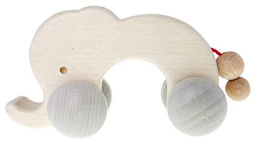 Hess Holzspielzeug 10867 - Rolli Figur aus Holz, Elefant nature, ab 3 Monate, ca. 12 x 4,5 x 6 cm, Geschenk zur Geburt oder Taufe