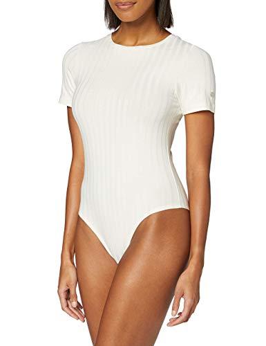 Calvin Klein SS Rib Body Ropa Deportiva de Punto, Blanco (Egret Yah), S para Mujer