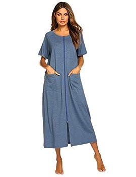 Ekouaer Women Short Sleeve Zip-Front O-Neck Bathrobe Sleepwear Long Robe
