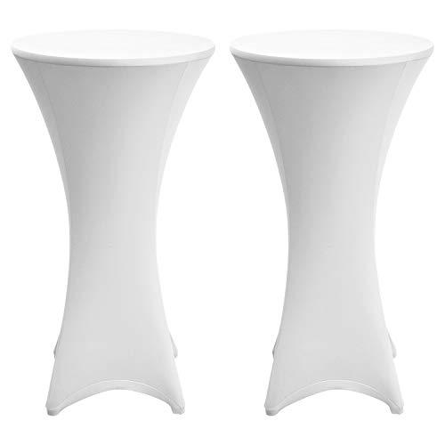 Beautissu 2er Set Husse für Stehtische Ø 80-85 cm Stretchüberzug für Bistrotisch – Edle Stretchhusse als Tischdecke in Weiß