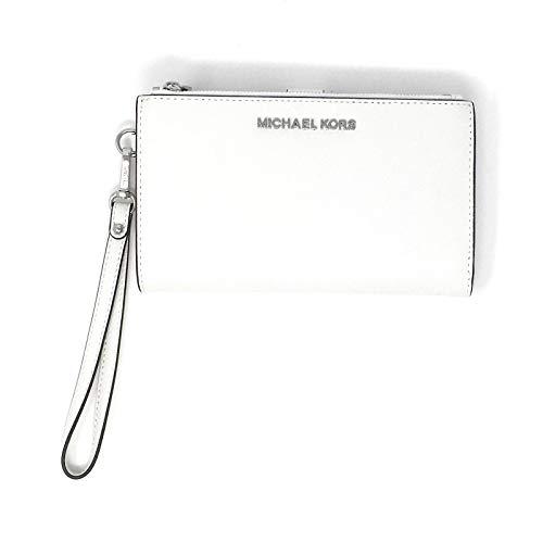 Michael Kors Jet Set Travel Double Zip Saffiano Leather Wristlet Wallet (Optic White)