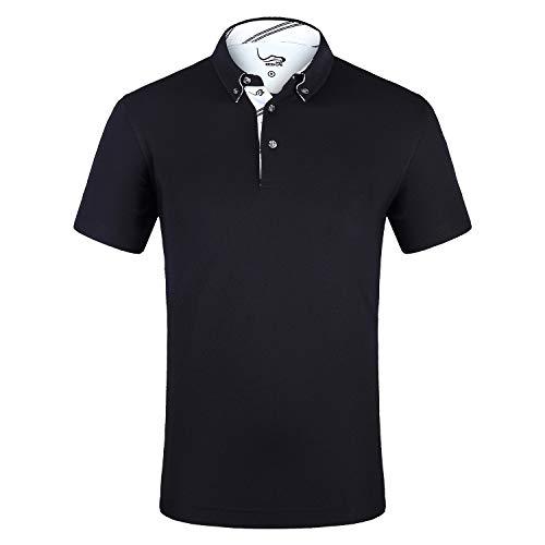 EAGEGOF Men's Shirts Short Sleeve Tech Performance Golf Polo Shirt Moisture-Wicking Standard Fit Black
