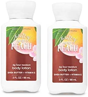 Bath and Body Works 2 Pack 24 Hour Moisture Pretty As A Peach Travel Size Body Lotion 3 Oz.