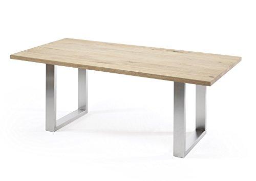 Holzwerk Table à manger en chêne massif 180 x 100/200 x 100 cm Épaisseur 4 cm