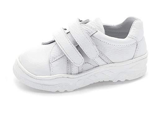 Zapatilla HORMA RECTA niños CALZAMEDI, piel blanco, ancho 6,capacidad plantillas.PIES PLANOS Mod.4065 (Blanco, numeric_23)