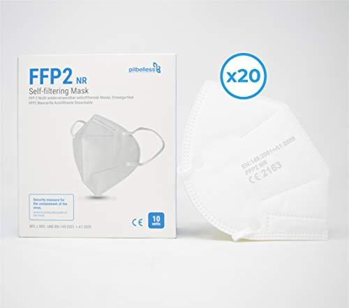 Masque FFP2 / KN95 Boîte 20 unités Certifié Ultra-résistant CE - 95% de Pouvoir Anti-Filtration - Masque respiratoire
