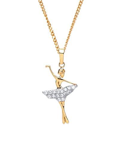 9ct Gold Cocktail Kleid Ballerina Anhänger & Kette 9Karat Gold.