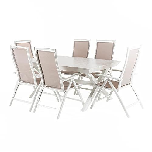 Conjunto para jardín de Mesa Extensible 170-240 y 6 sillones reclinables y...