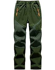 CAMLAKEE Pantalones Softshell para Niños Impermeables Pantalones de Senderismo con Forro Polar