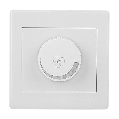 Interruptor de control de velocidad, interruptor de control de velocidad del ventilador de luz de techo Shexton Perilla de panel de pared blanca AC250V 100W 86x86mm