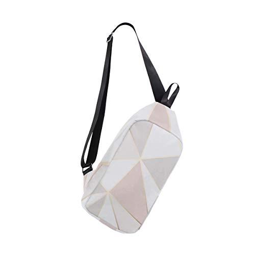 Price comparison product image Sling Bag Geometric Rose Gold Womens Chest Shoulder Backpacks Crossbody Travel Bag Pack