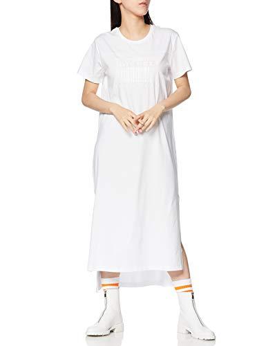 (ディーゼル)DIESELレディースワンピースバーコードDIESELロゴ半袖ロングドレスA005470QANWSホワイト100