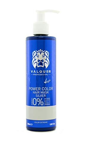 Válquer Professional Mascarilla Power Color cabellos teñidos. Vegano y sin sulfatos (Plata). Potenciador color pelo- 275 ml