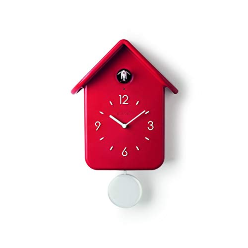 Guzzini QQ Cuckoo Home Reloj Con Pendulo, ABS, Rojo, 24.8 x 12 x h39 cm