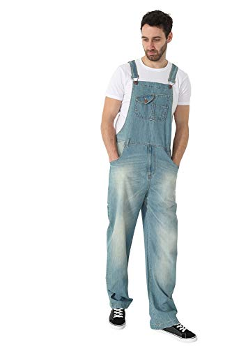 USKEES Stevie Latzhose, Super Loose Fit - Aged Blue Denim - Männer Latzhosen STEVIE1AGEDBLUE-34W
