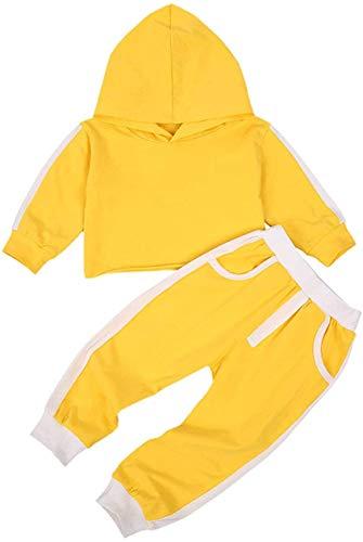 Niño bebé niño niña Sudaderas con Capucha chándales Color sólido Sudadera con Capucha suéter Pantalones Largos chándal 2 Piezas Conjunto de Trajes (Yellow,12-18 Meses)