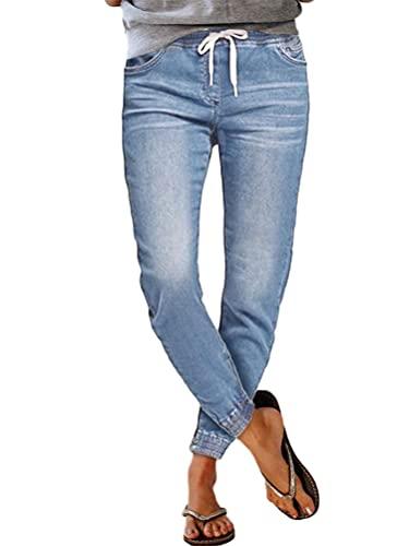 Tomwell Mujer Vaqueros Pantalones de Pierna Ancha de Mezclilla Rectos de Estilo Retro Cómodos Resistentes al Desgaste