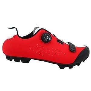 LUCK Zapatilla de Ciclismo MTB ÍCARO con Suela de Carbono y Sistema rotativo de precisión acompañada de un Velcro. (43 EU, Rojo)