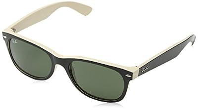 Ray-Ban RB2132 New Wayfarer Sunglasses, Black On Beige/Green, 55 mm