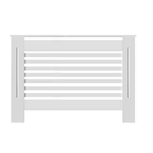 Bigzzia Radiator Cover, Horizontal MDF Wood Heating Cabinet Cover White Modern Cabinet Design Living Room Heating Cabinet Shelves Radiator Additional Shelf Home Space Accessory (Medium)
