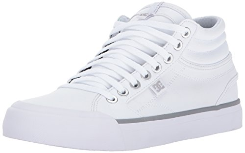 DC Women's Evan Hi Shoes, White/Silver, 11 B US