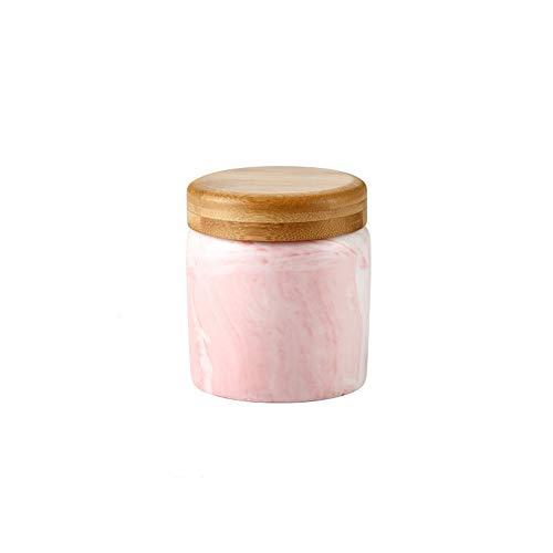 Eten opslag blik, keramische voedsel opslag pot met luchtdichte afdichting bamboe deksel - modern design marmer keramische voedsel opslag bus voor het serveren van thee, koffie, kruiden en meer 9.3 OZ(275ML) Marble Pink