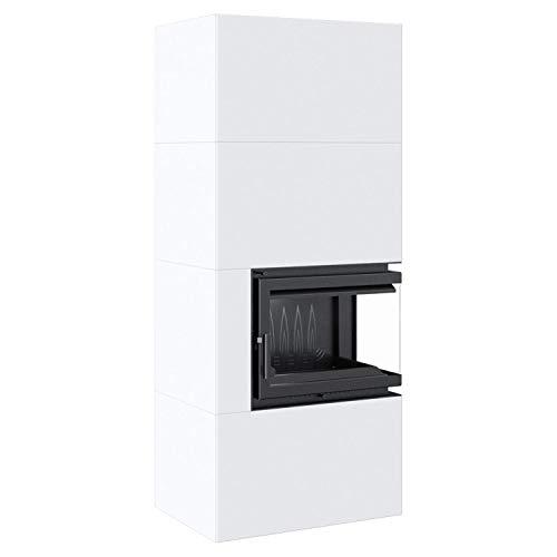 Kratki Home Simple Box Kamin-Ofen Stahl-Verkleidung weiß 2-Seitig Türanschlag rechts Fertig-Bausatz 8kw Bauart 2 200mm Agbasstutzen-Durchmesser BImSchV 2