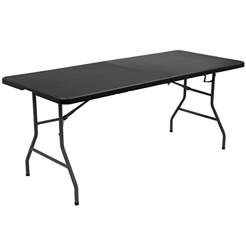 TimmyHouse Portable Table 6' Folding Outdoor Plastic Picnic Camping Patio Furniture Black