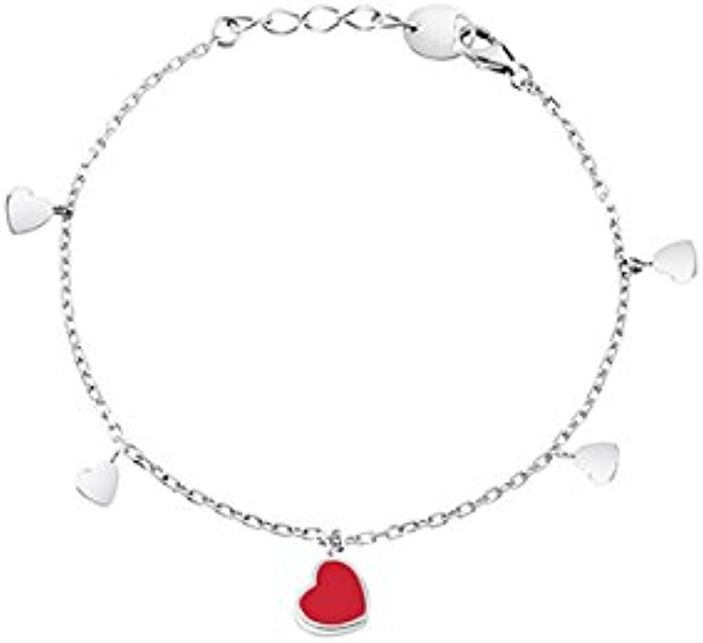 Salvini,bracciale per donna in oro bianco ,con un mix di cuori,con diamanti taglio brillante di ct.0,005 FRP-00421