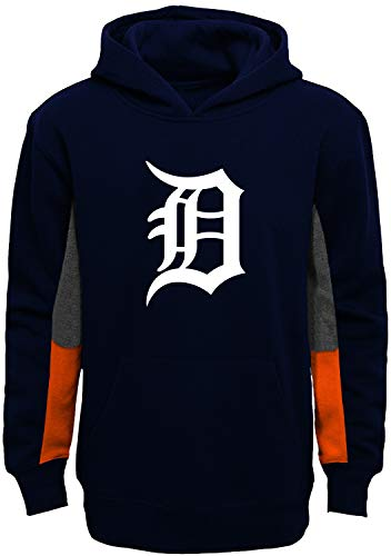 Outerstuff MLB Youth 8-20 Team Color Alternate Fleece Primary Logo Stated Pullover Sweatshirt Hoodie (Detroit Tigers Navy, 10-12)