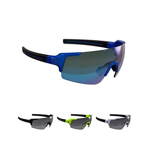 BBB Cycling Fahrradbrille FullView | Herren und Damen Sportbrille Sonnenbrille | mit drei Wechselgläsern | Polycarbonat Grilamid | MTB Rennrad Urban Radsport | Glänzend Kobaltblau | BSG-63