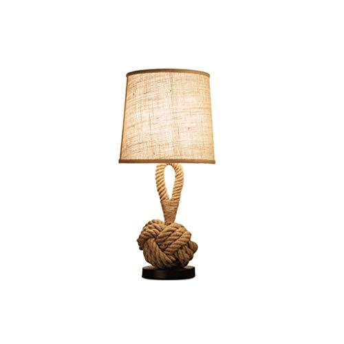 Zhenmu home American Retro Moda Creativa Dormitorio de Noche LED lámpara de Escritorio Cafe Estudio Dril de algodón de cáñamo Cuerda decoración de la lámpara pequeña Tabla