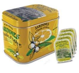 Geschenkbox Sardines à l'huile d'Olive et au citron, Schmuckdose mit 4 Dosen Sardinen aus der Bretagne