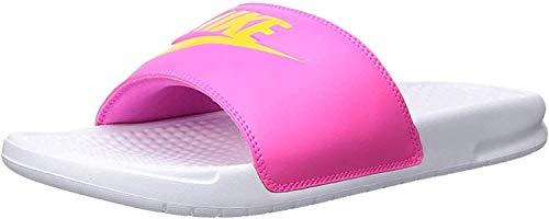 Nike Damen WMNS Benassi JDI Dusch- & Badeschuhe, Mehrfarbig (White/Laser Orange/Laser Fuchsia 000), 40.5 EU
