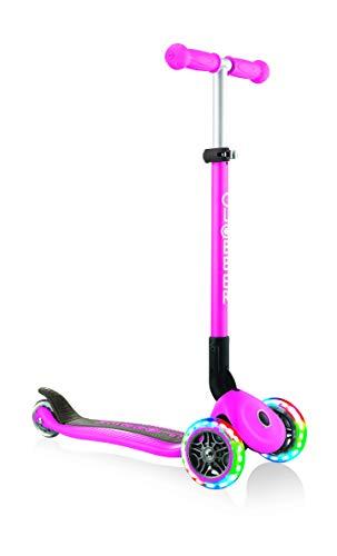 Globber Mädchen Primo Foldable Lights, pink mit Leuchtrollen Scooter, One Size