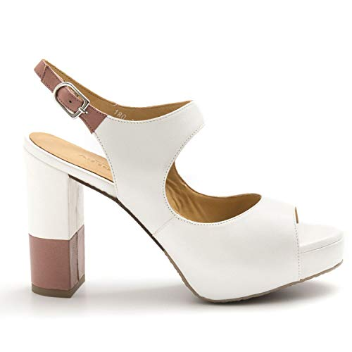 AUDLEY - Bicolor Leather Audley Heeled Sandals with
